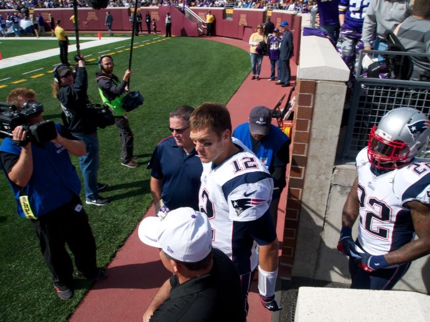 Tom Brady entering the stadium
